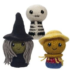 Adorblings� Trick or Treat 2: Skeleton, Witch, Scarecrow Felted Knit Amigurumi�