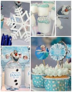 Disney's Frozen themed birthday party via Kara's Party Ideas! full of decorating ideas, dessert, cake, cupcakes, favors and more! KarasPartyIdeas.com #frozen #frozenparty #eventstyling #partydecor #partyideas (2) by maureen