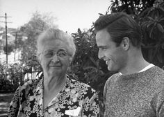 """Marlon Brando and his grandmother, """"I do hope that Bud comes through all this without too much scandal,"""" she told LIFE. """"I love him more than anything on this earth, but I never know when I'm going to hear from him in San Quentin. Marlon Brando, Brando Godfather, Classic Hollywood, Old Hollywood, Nebraska, Divas, John Fugelsang, Angeles, Young Actors"""