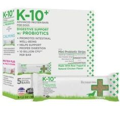 K-10+ Advanced Protein Bar For Dogs Digestive Support w- Probiotics 6z