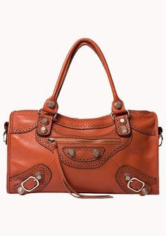 The Route 66 Cowhide Leather Bag With Big Studs Orange