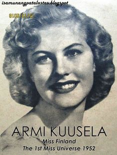 """ARMI KUUSELA, as photographed for a Camay ad, """"the soap of beautiful women"""" As the Miss Universe 2018 contest heads for its climax. Old Advertisements, Advertising, Us Actress, Hilario, Old Hollywood Glamour, Pageant, Finland, Universe, Actresses"""