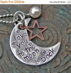 Metal Jewelry Hand Stamped Jewelry - love you to the moon - Mommy Necklace - Mothers Necklace - Personalized Jewelry - Metal Jewelry, Silver Jewelry, Silver Ring, Bullet Jewelry, Geek Jewelry, Gothic Jewelry, Silver Earrings, Jewlery, Jewelry Necklaces