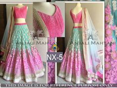 Rozdeal Fabulous Pink And Sky Blue Color Lehenga Choli. STYLE: Designer Lehenga FABRIC: Net WORK: Sequins Work, Thread Work, Hand Work COLOUR: Blue, White OCCASION: Party, Wedding, Reception DUPATTA FABRIC: Net BLOUSE FABRIC: Banarasi INNER FABRIC: Santoon