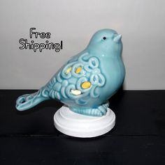 A personal favorite from my Etsy shop https://www.etsy.com/listing/513807449/blue-bird-ceramic-accent-lamp-night