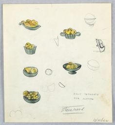 Official Marion Weeber Welsh Drawing, Button Design: Fruit Bowls