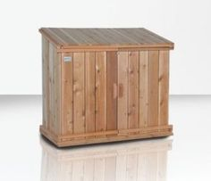 Trash can shed to conceal garbage/recycle bins & keep out critters.--need to make bigger Garbage Can Shed, Garbage Can Storage, Garbage Recycling, Recycling Bins, Outdoor Projects, Home Projects, Outdoor Decor, Bike Storage Solutions, Wood Shed