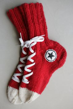 Items similar to Hand Knit Converse socks, Red Handmade Warm Socks, Hipster Clothing, Red Accessories on Etsy Knitting Loom Socks, Hand Knitting, Knitting Patterns, Knit Socks, Converse Socks, Hipster Outfits, Hipster Clothing, Extreme Knitting, Red Accessories
