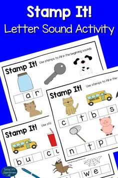 Using an alphabet stamp set is a fun, hands-on way for children to learn a variety of things like letter sounds in our Stamp It Letter Sound Activity.
