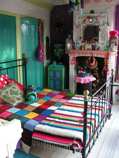Turquoise doors, striped and checkerboard bedding
