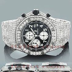 This Fully Iced Out Custom Audemars Piguet Mens Diamond Watch features 27 carats of sparkling white diamonds on the bezel, sides and lugs of the silver tone stainless steel case. This luxurious men's diamond watch by Audemars Piguet is equipped with a super accurate Swiss-made chronograph quartz movement and comes with 2 year warranty from ItsHot.com