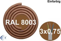 Textilleitung rund 3 x 0,75 mm²  lehmbraun RAL8003 Synthetikgeflecht Textilkabel