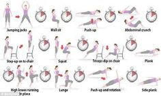 This circuit is especially designed for the overweight, beginner, or seasoned citizen. If you are in relative health, give it a try - perhaps add a weight or two! Have no weights? No problem. Try a soup can or a bottle of water!