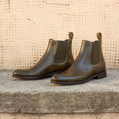 Handcrafted Custom Made Women's Chelsea Boot in Olive Painted Calf Leather From Robert August. Create your own custom designed shoes. Custom Boots, Custom Design Shoes, Slip On Boots, Polished Look, Leather Accessories, Casual Shoes, Casual Wear, Luxury Lifestyle, Calf Leather