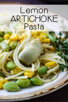 Kid-friendly Lemon Artichoke Pasta is the perfect weeknight dinner recipe to make for the kids. #dizzybusyandhungry #pasta #lemon #artichokes #edamame #spaghetti