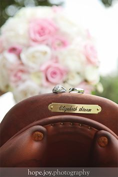 Equestrian wedding! My saddle and rings!