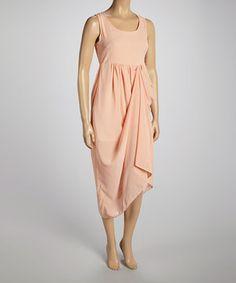 This Beestango Peach Pleat Sleeveless Maxi Dress by Beestango is perfect! #zulilyfinds