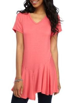 New Directions Coral Reef Solid Asymmetrical Hem Top