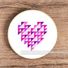PDF counted cross stitch pattern - Modern cross stitch - Purple geometric heart via Etsy