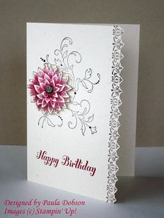 Creative elements stamped on Naturals Ivory cs, with Early Espresso and Cherry Cobbler.  Coloured the flower with blender pen, fussy cut, then added to card with a Glimmer Brad.