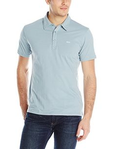RVCA Men's Sure Thing Polo, Blue/Grey, X-Large - http://shop.dailyskatetube.com/?post_type=product&p=444 - Quick sleeve polo blouse Self collar and collar stand RVCA embroidery patch at left chest and slits at backside hem -
