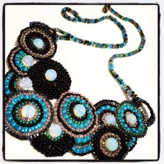 Necklace in brick stitch and herringbone. Freeform. Beadwork, beadweaving