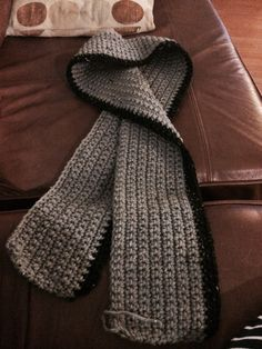 A scarf for my daddy - crochet pattern adapted from one I have pinned. 140 chain & double crochet (uk). Flecked wool