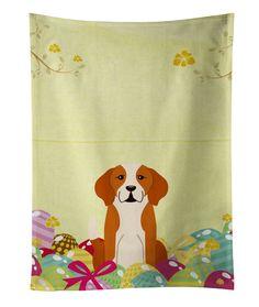 Easter Eggs English Foxhound Rectangle Dishcloth