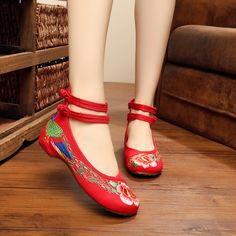 Red tail phoenix women Shoes Adult chinese wedding shoe Old Beijing  embroidered shoes qipao Flat 98f035def396