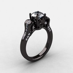 14K Black Gold Cubic Zirconia Diamond Wedding Ring......... Si me regalan uno de estos si me kiero casar