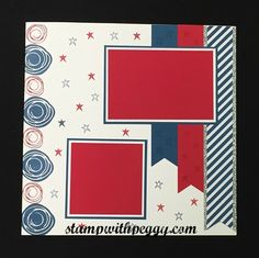 July Scrapbook Page, 4th of July, Swirly Bird, stampwithpeggy.com