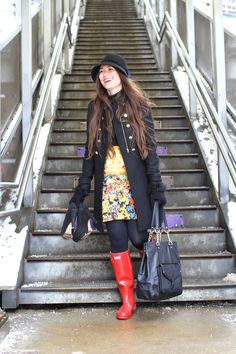 Red Hunter wellies keep toes dry heading to work with Audrey Huber of A Lovely Escape