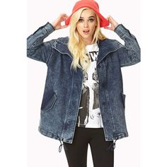 Forever 21 Women's  Throwback Longline Denim Jacket (130 BRL) ❤ liked on Polyvore featuring outerwear, jackets, outfits, models, full outfits, long sleeve denim jacket, oversized distressed denim jacket, oversized denim jacket, acid wash denim jacket and longline jacket