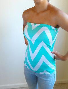 Tiffany Blue Chevron Stretch tube top
