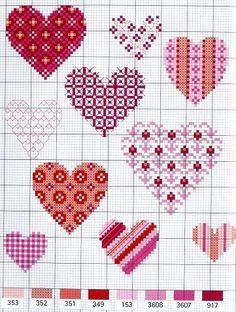 Cross stitch - hearts More