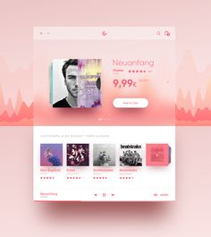 Music Store by Sebastian Stapelfeldt on Inspirationde Fluent Design, Mobile Ui Patterns, Music App, Ui Design Inspiration, Dashboard Design, Mobile App Design, User Interface Design, Interactive Design, Music Store