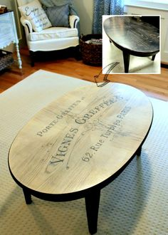 Using the French Winemaker graphic and then a whitewash on the table, she gave this old piece of furniture a new life! DIY Coffee Table Makeover is great!