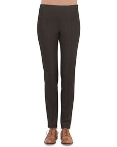 Melissa Stretch Flannel Pleated Slim Pants, Gray by Akris at Bergdorf Goodman.