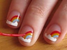 Easy nail designs for short nails - Rainbows. gonna paint my little girl's nails like this:) Little Girl Nails, Girls Nails, Cute Easy Nail Designs, Short Nail Designs, Kid Nail Designs, Easy Designs, Cute Nail Art, Easy Nail Art, Rainbow Nail Art