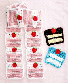 Ravelry: Strawberry Cake Scarf pattern by Twinkie Chan Crochet Kids Scarf, Crochet Wool, Crochet Gifts, Cute Crochet, Crochet Scarves, Crochet Motif, Crochet Designs, Crochet Stitches, Crochet Patterns