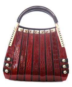 This Red Crocodile Irina Leather Satchel is perfect! #zulilyfinds