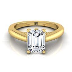 Emerald Cut Diamond Solitaire Engagement Ring With Scroll Gallery Design In 14k Yellow Gold