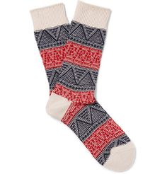 Japanese label <a href='http://www.mrporter.com/mens/Designers/Anonymous_Ism'>Anonymous Ism</a> specialises in intricately patterned socks like this red, navy and off-white pair. They are knitted using touches of breathable cotton to keep you feeling fresh throughout the day.