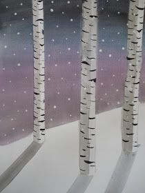 Ah, the ever-popular Birch Trees project! Art teachers, staff, students and parents LOVE this lesson. It always has a high success rat. Winter Art Projects, School Art Projects, Birch Tree Art, 4th Grade Art, Grade 3, Atelier D Art, Winter Painting, Watercolor Trees, Winter Trees