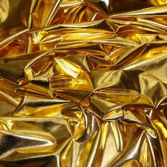 Metallic Foil Spandex Fabric in Gold Stretch Lycra by FabricBravo