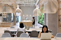 In this Hong Kong office, timber is used as a coherent architectural finish, while proper lighting injects moments of calm or dynamic patterns to boost energy. Via Office Snapshots