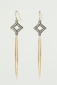 Crystal Gun Metal Gold Spike Earrings