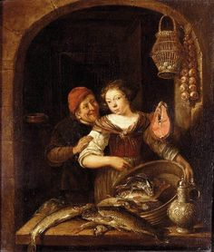 The fish seller. Gerrit Battem or Gerard van Battum (ca. 1636 - October 24, 1684 (buried)) was a superior Dutch landscape painter.