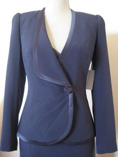 George Gross Blue Size 8 Long Sleeve Jacket With Satin Binding New With Tags