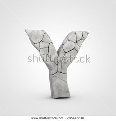 Stone letter Y uppercase. 3D render rock font with cracks isolated on white background.